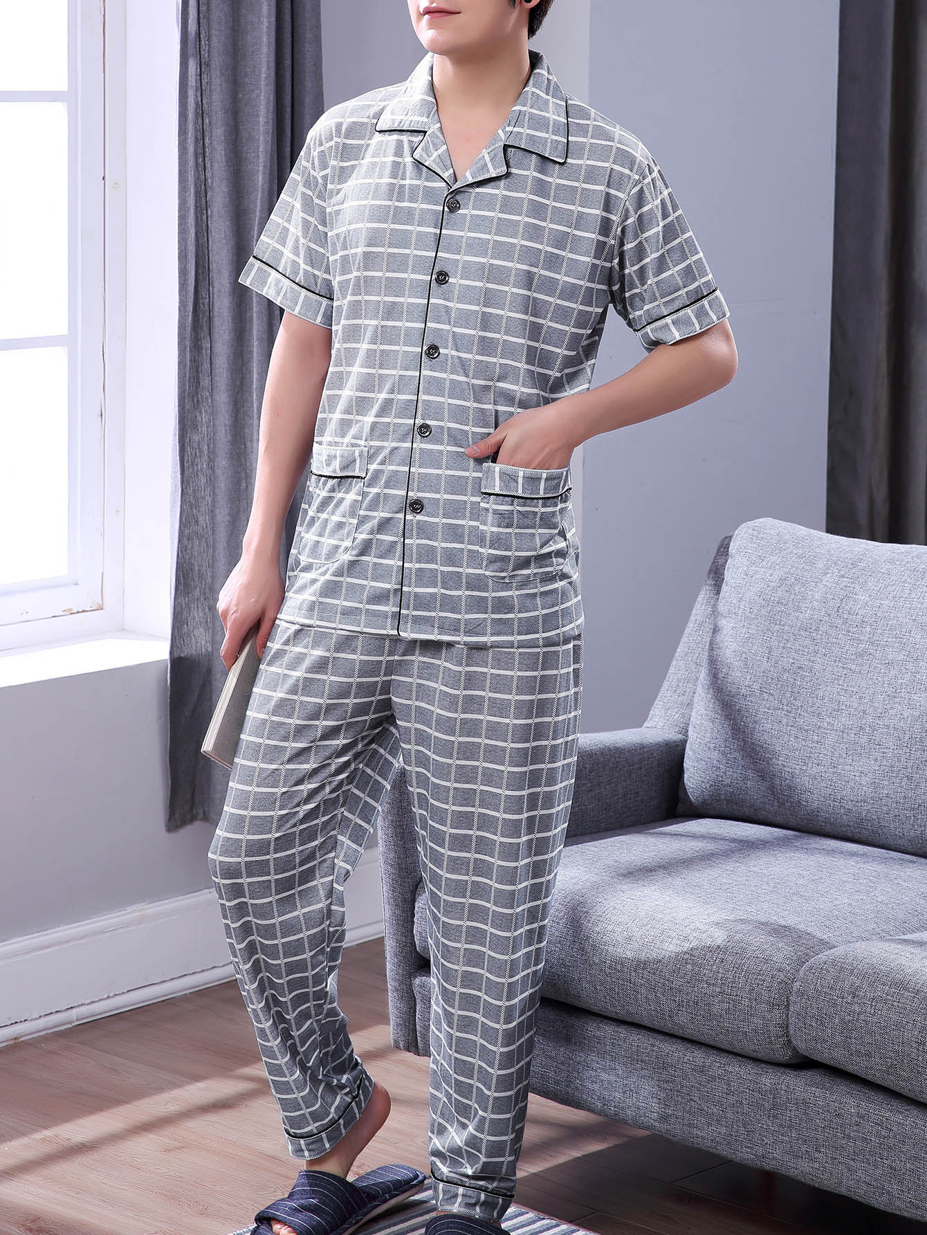 Men Plaid Button Up Pajama Set