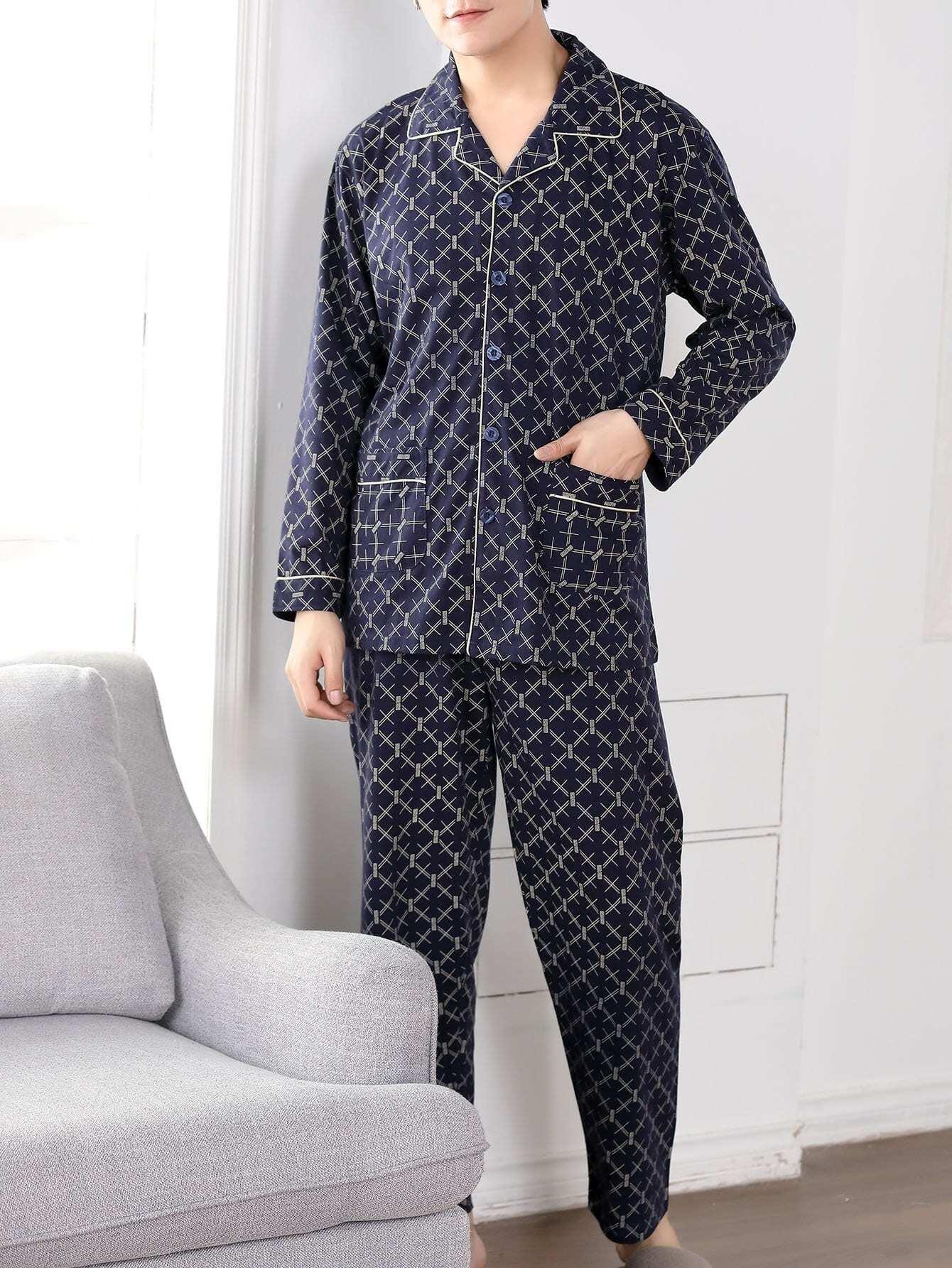 Купить Комплект пижамы с рисунками геометрических фигур и с украшением пуговицы для мужчины, null, SheIn
