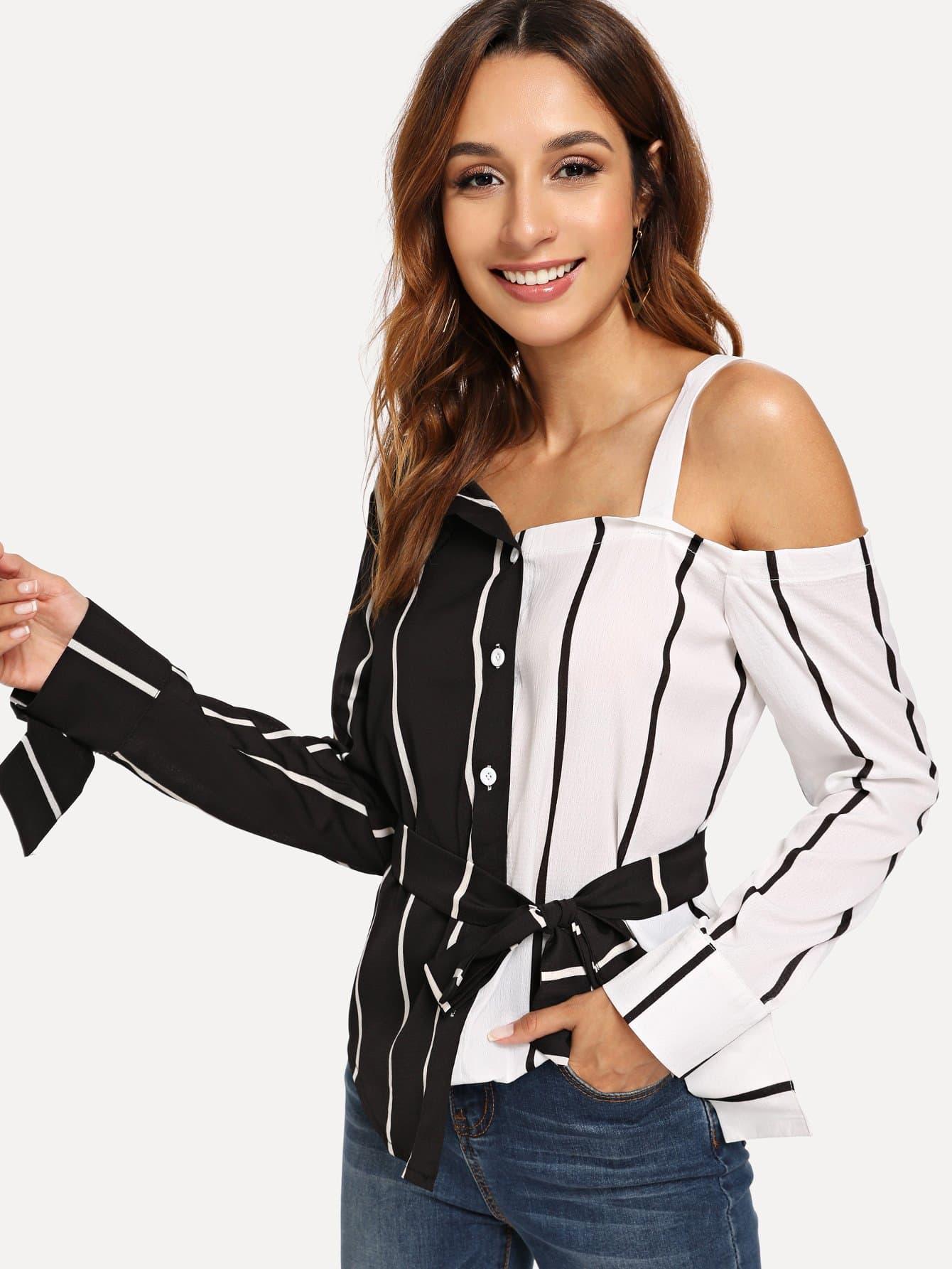 Купить Контрастная асимметричная блузка в полоску, Gabi B, SheIn