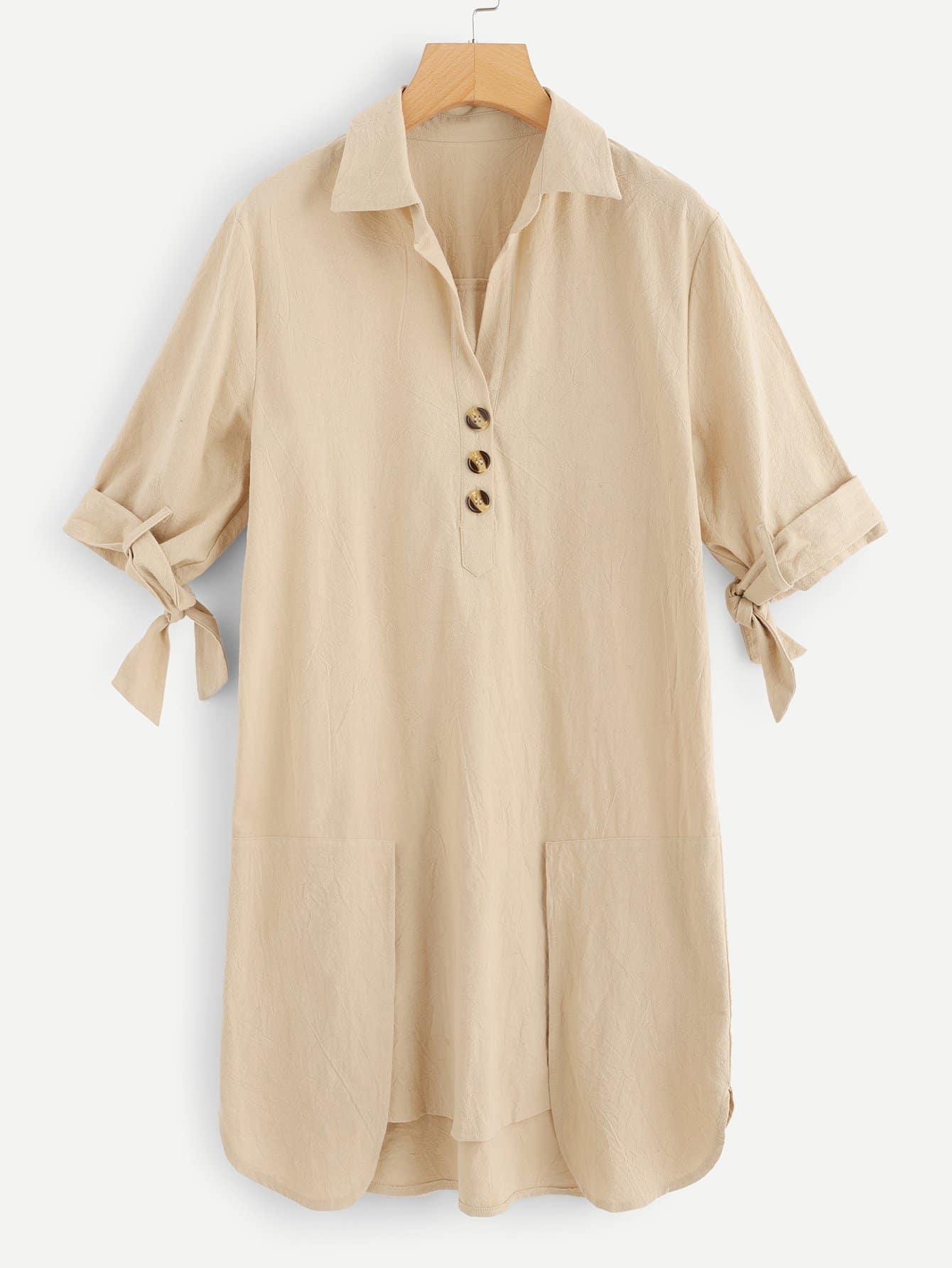 Галстук-бабочка рукавами однобортное платье