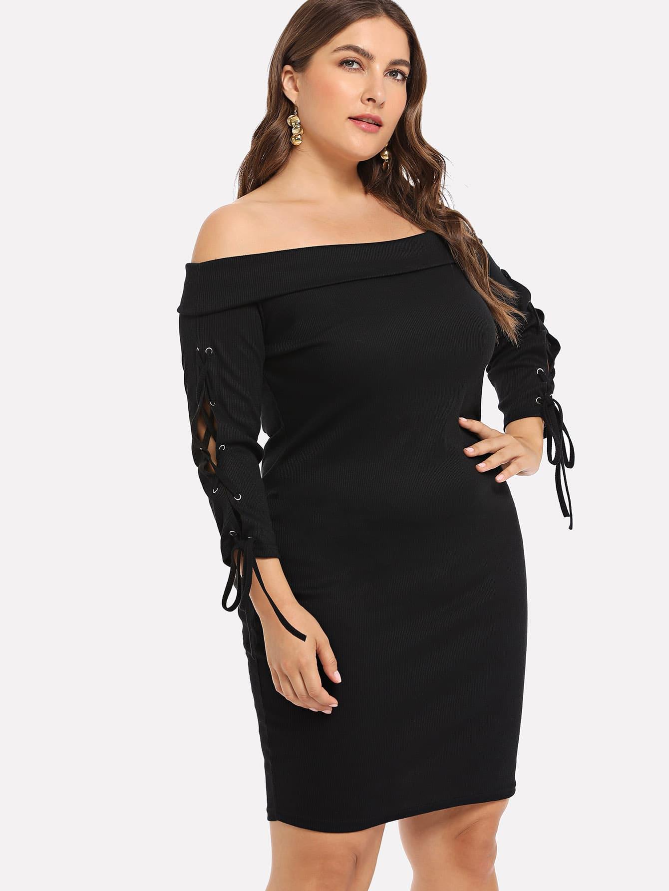 Купить Большое платье без бретелек и с шнурками, Franziska, SheIn
