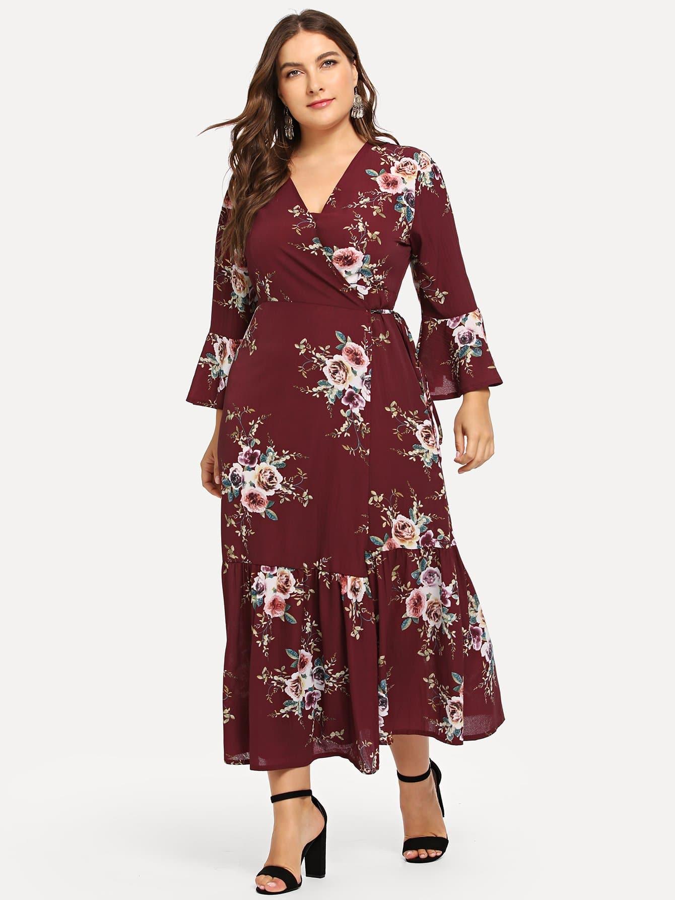 Plus Floral Print Knot Waist Wrap Dress
