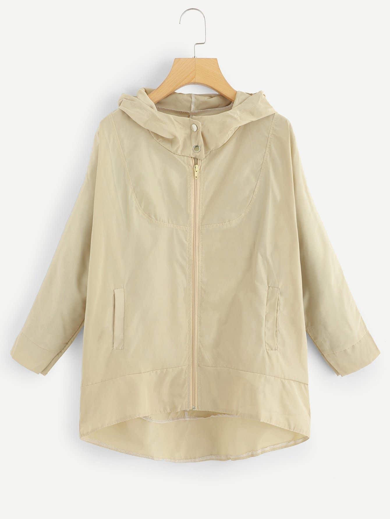 Mantel mit abfallendem Saum und Reißverschluss