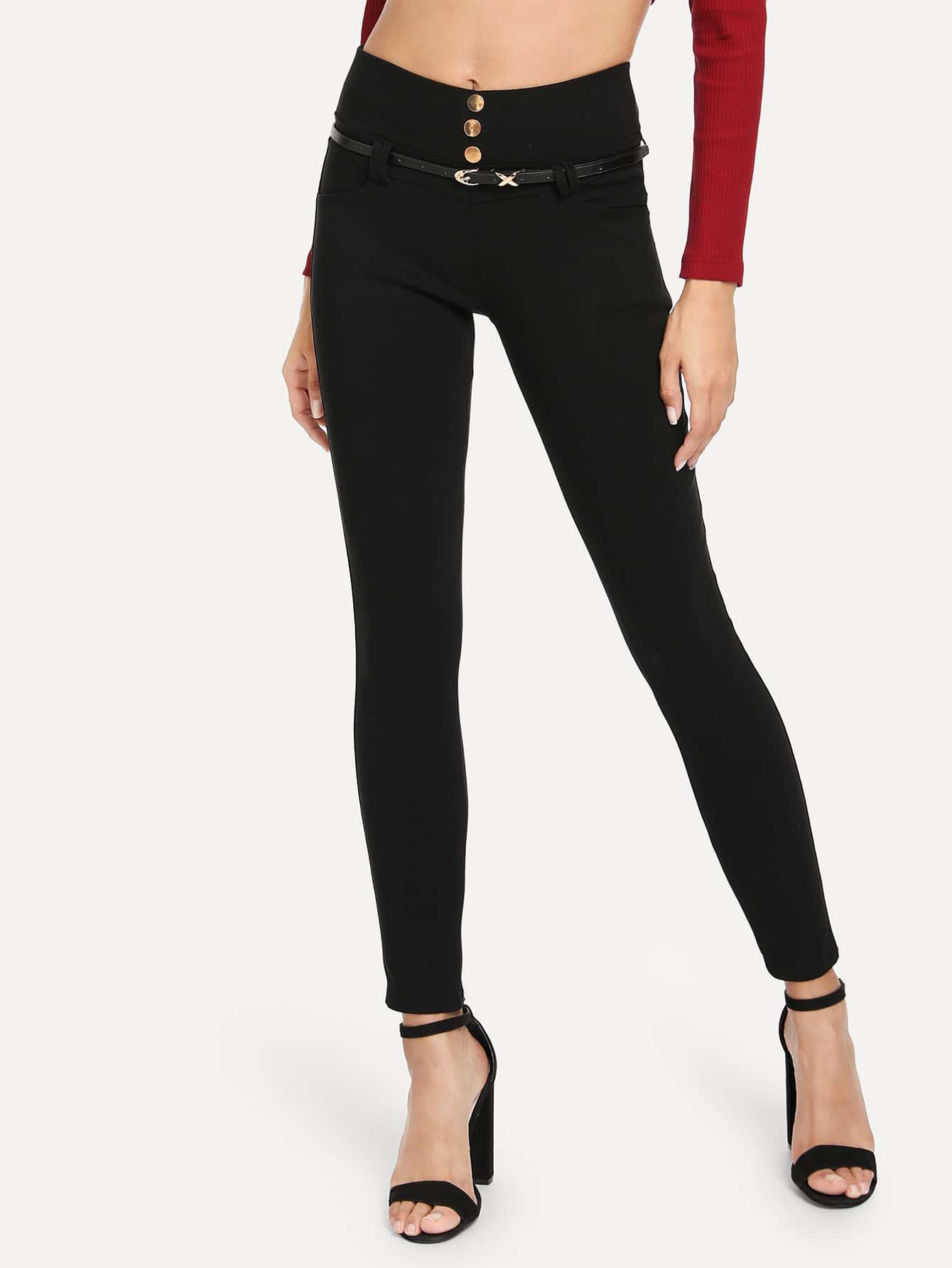 Купить Одноцветные брюки на пуговицах с поясом, Gabi B, SheIn