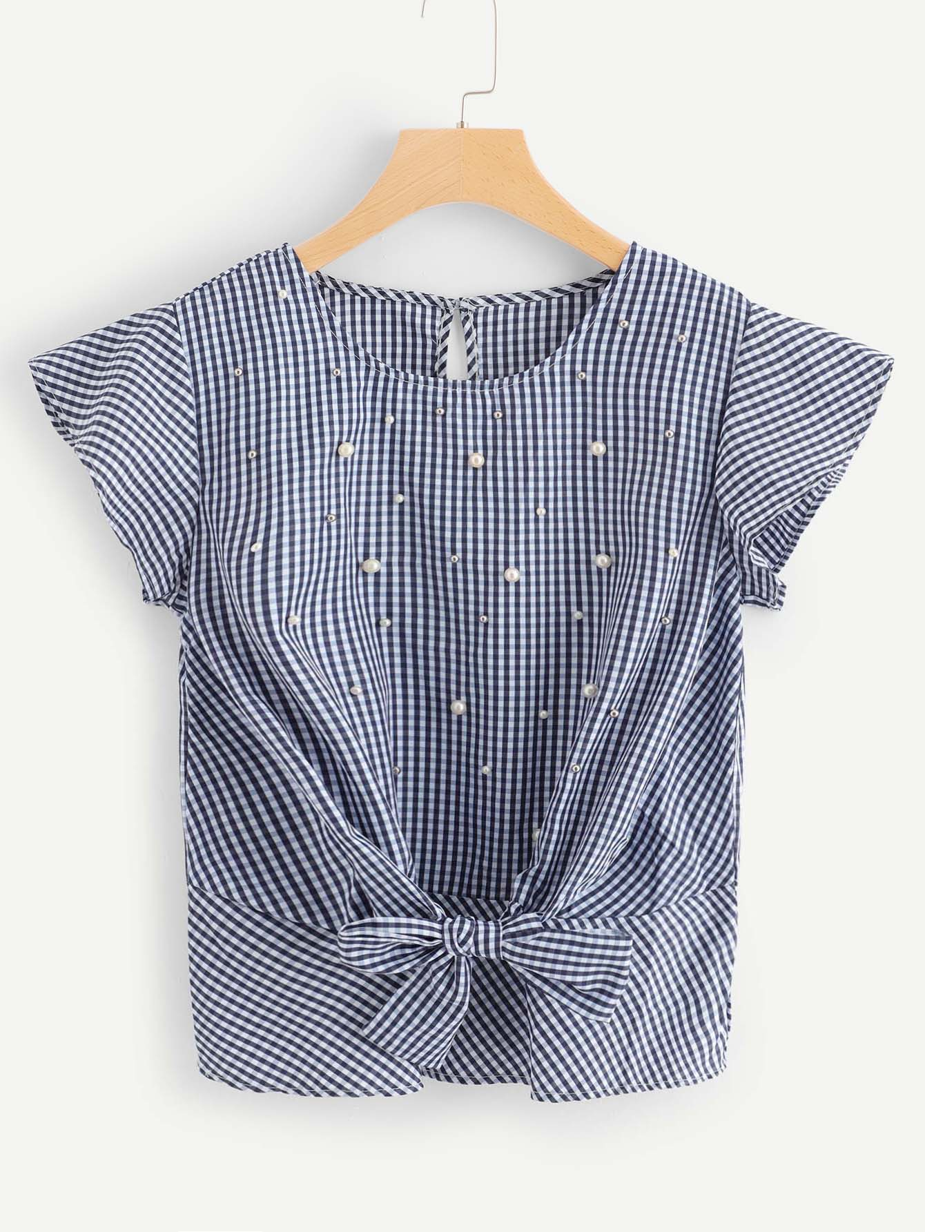 Plaid Pearl Detail Knot Front Blouse
