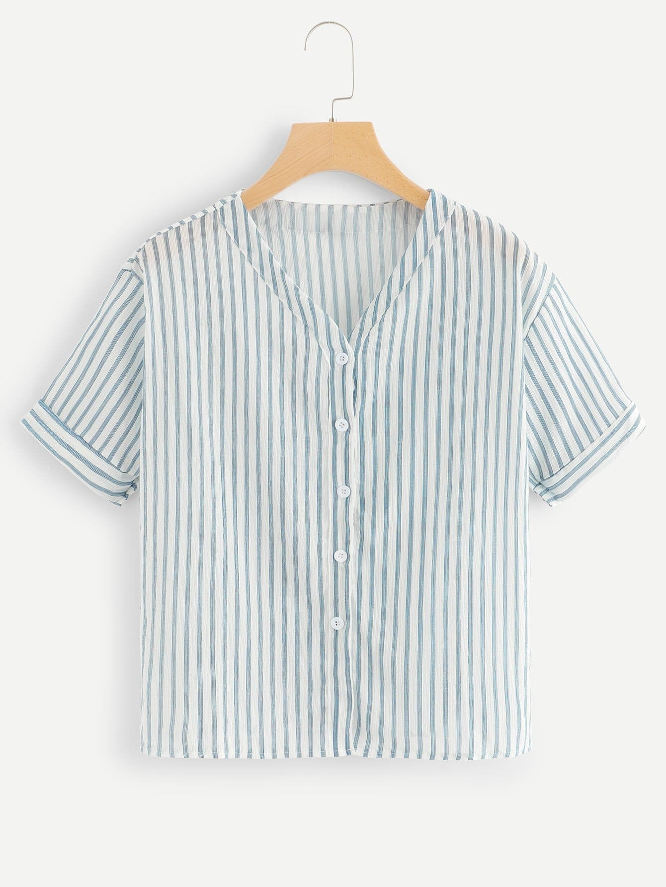 Striped Single Breasted Blouse