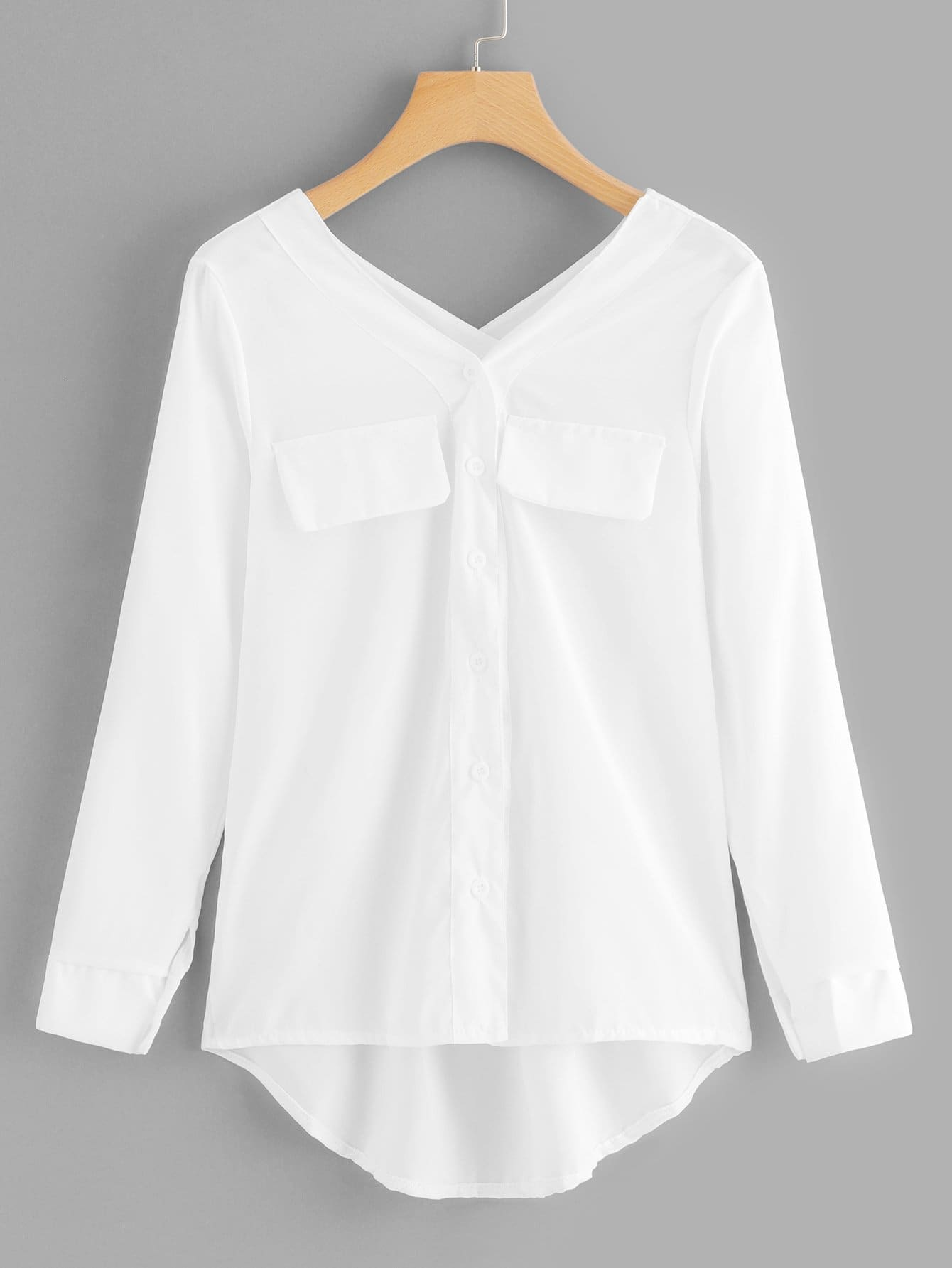 V Neck Single Breasted Dip Hem Blouse