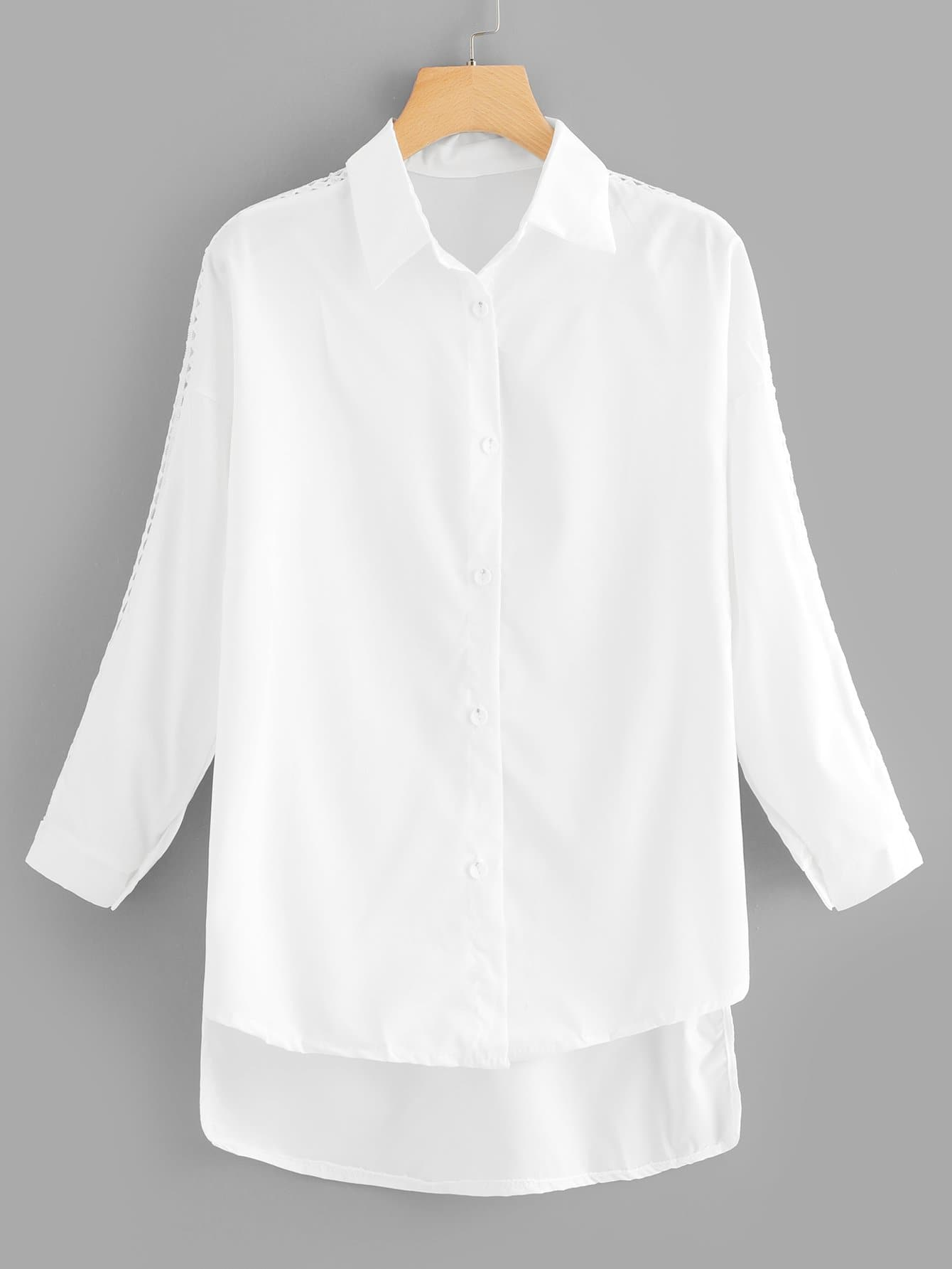 Single Breasted Dip Hem Shirt