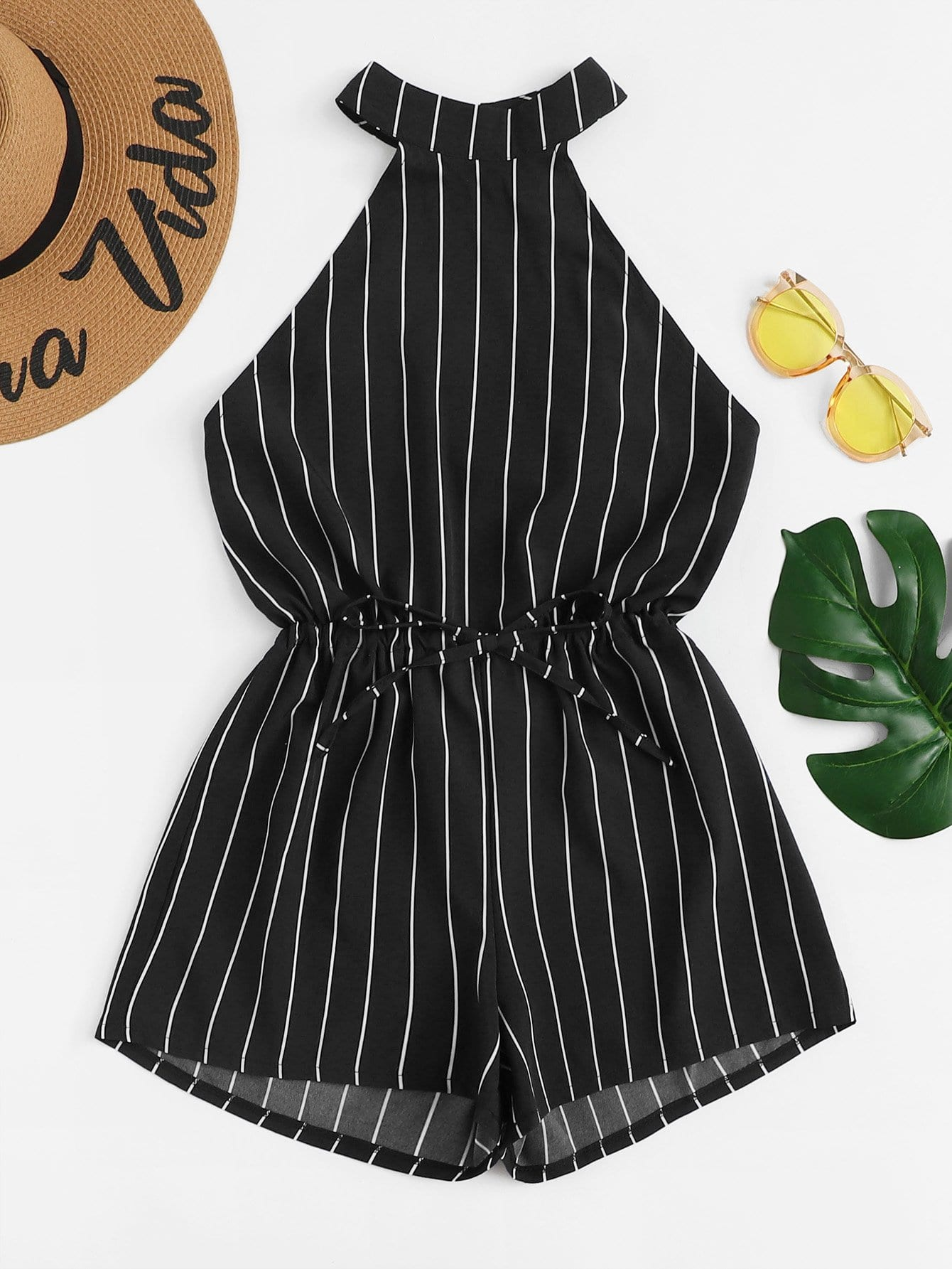Drawstring Waist Striped Knot Back Jumpsuit