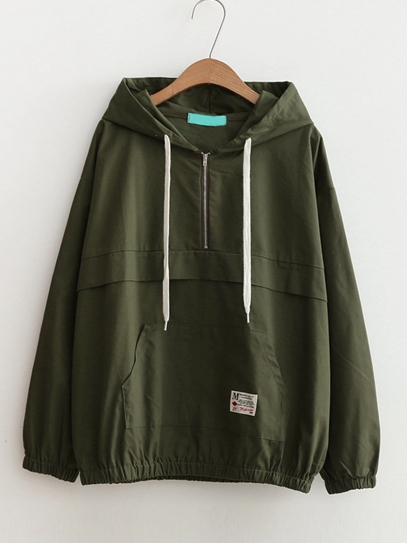 Drop Shoulder Kangaroo Pocket Anorak Jacket