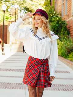 Zipper Back Plaid Skirt