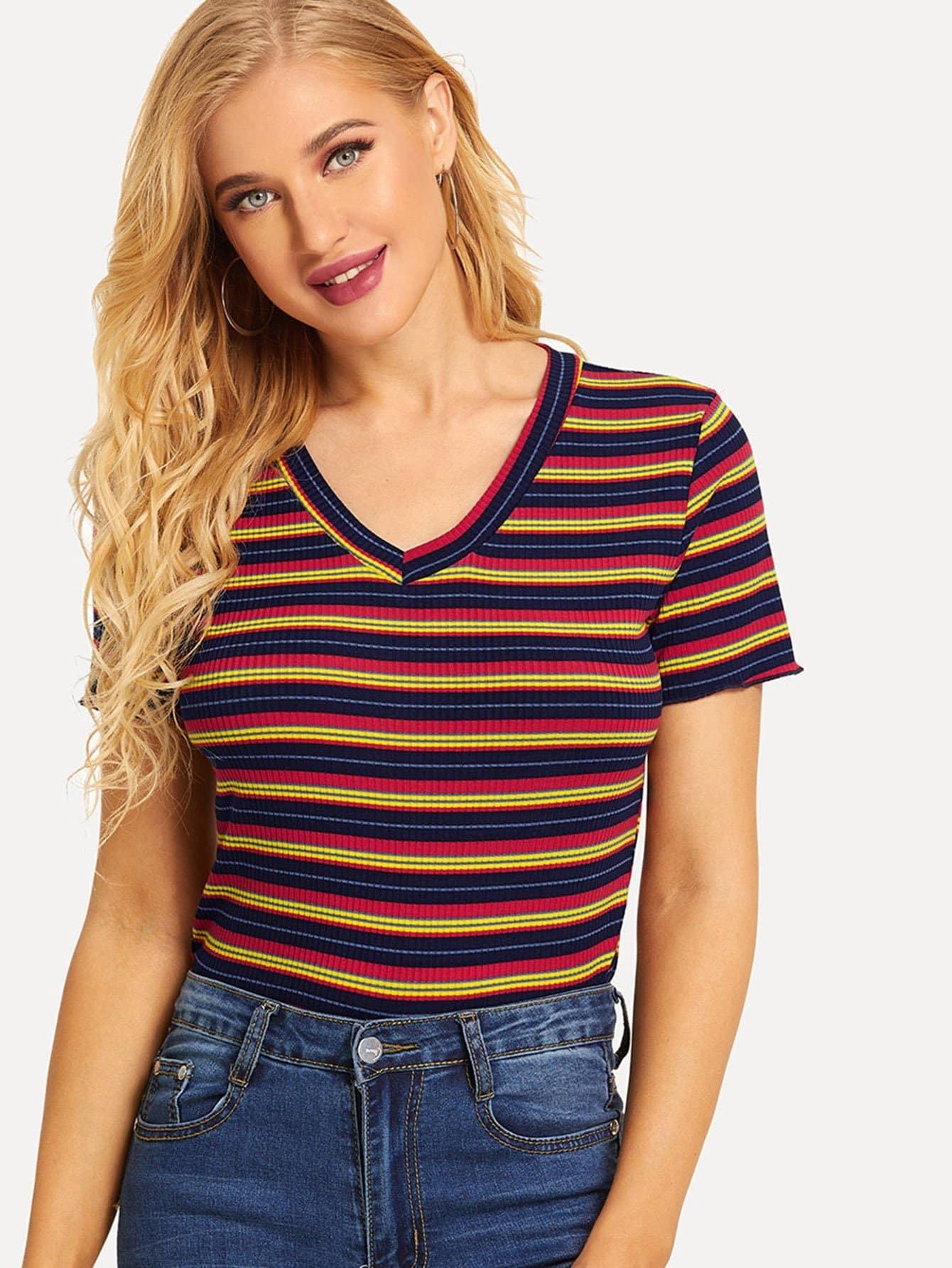 Купить Полосатая футболка с v-образным вырезом, SUSU, SheIn