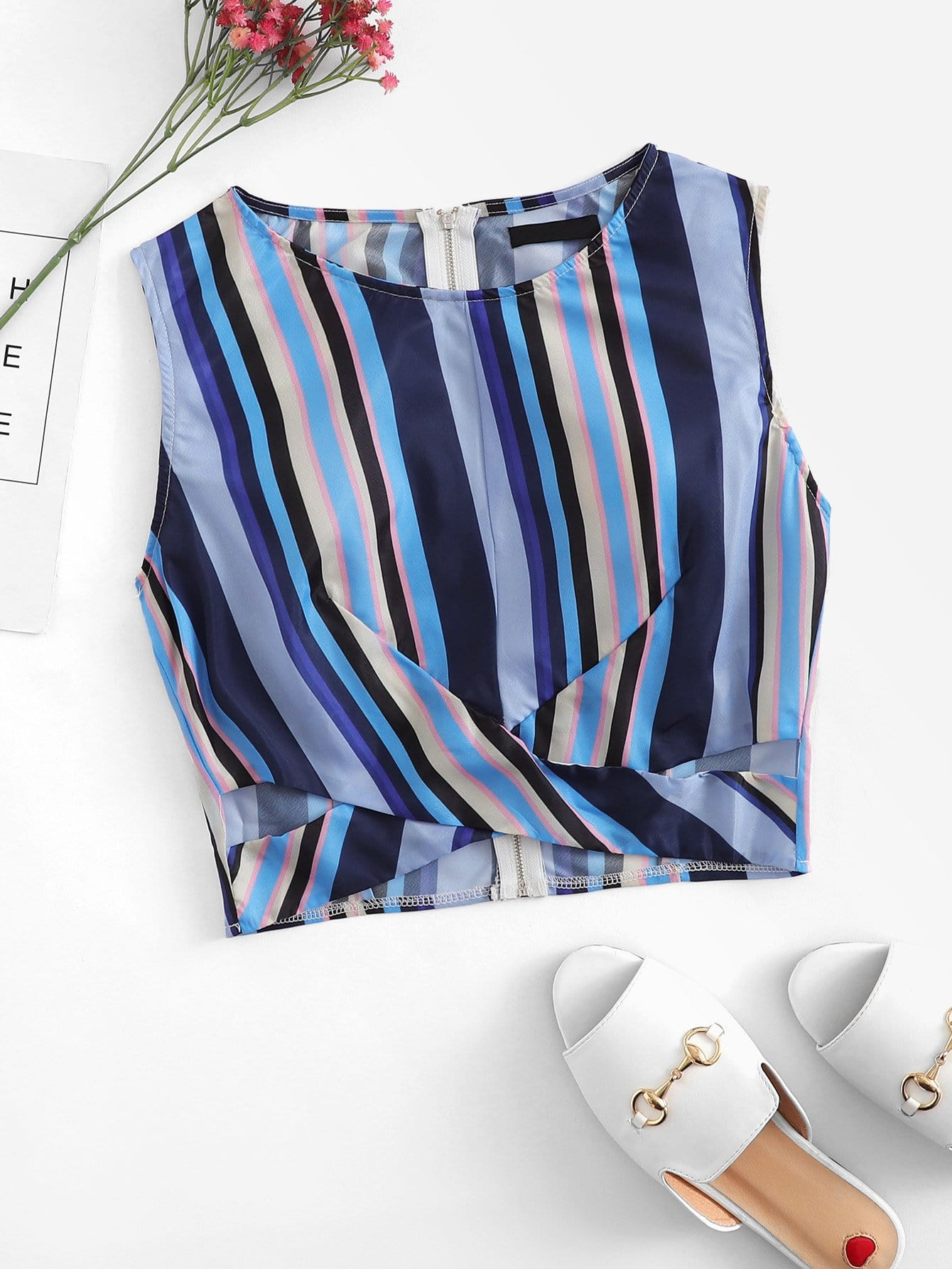 Zip Back Striped Shell Top
