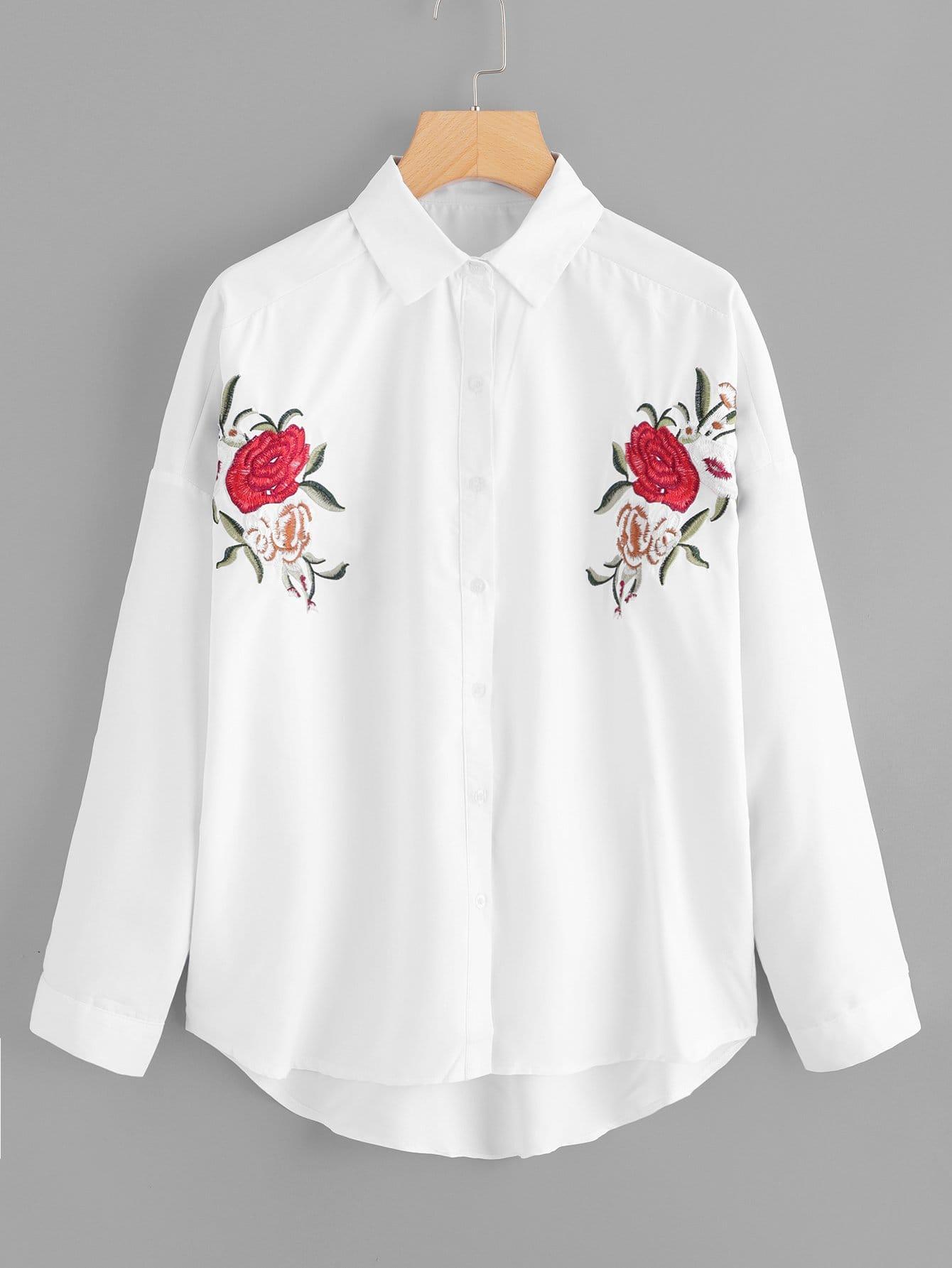 Кнопка Front Flower Print Collar Neck Top