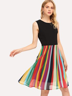 Cut And Sew Striped Shell Dress