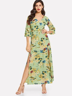 V-Neck Bell Sleeve Flower Print Dress