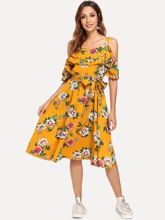 Layered Ruffle Belted Floral Dress