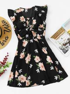 Flower Print Ruffle Shoulder Dress