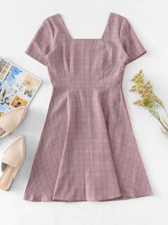 Square Neck Plaid Flare Dress