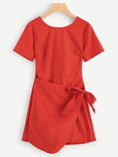Knot Side Asymmetrical Hem Dress