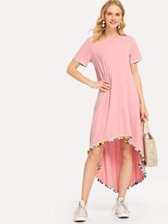 Pom Pom Trim Dip Hem Dress