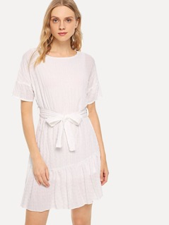 Ruffle Hem Belted Crinkle Dress
