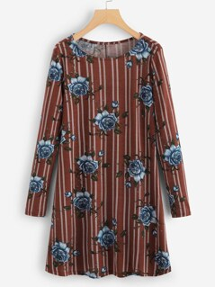 Flower Print Striped Tunic Dress