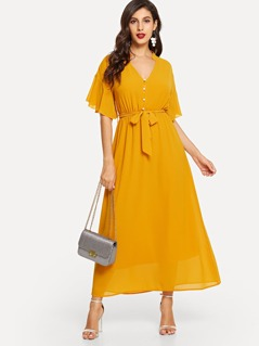 Butterfly Sleeve Half Button Belt Maxi Dress