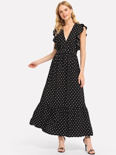 Ruffle Trim Polka Dot Dress