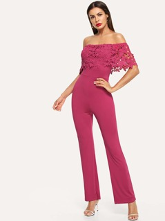 Lace Flounce Foldover Front Off Shoulder Jumpsuit
