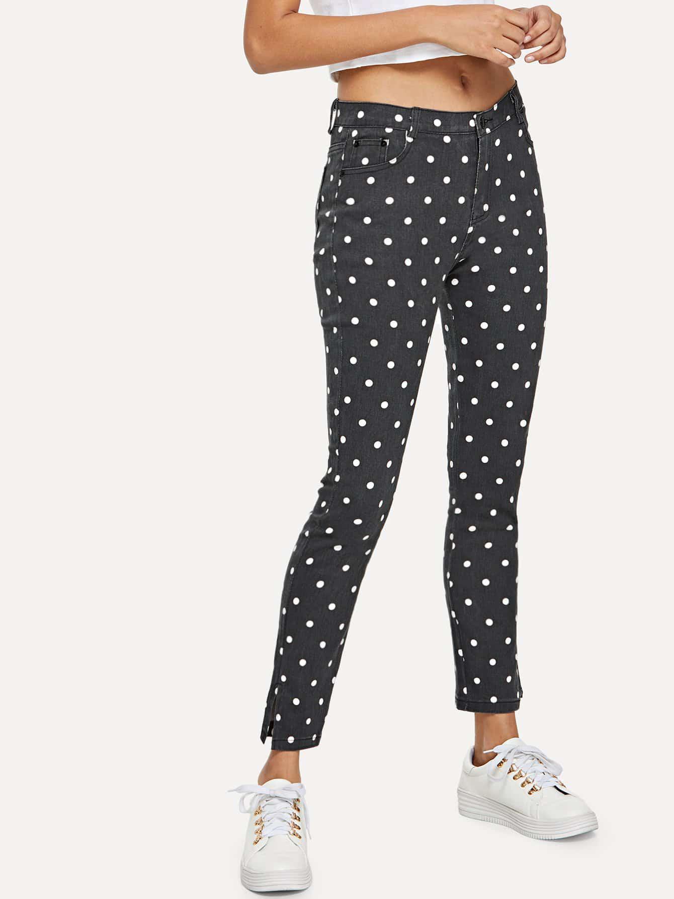 Dot Print Split Hem Jeans