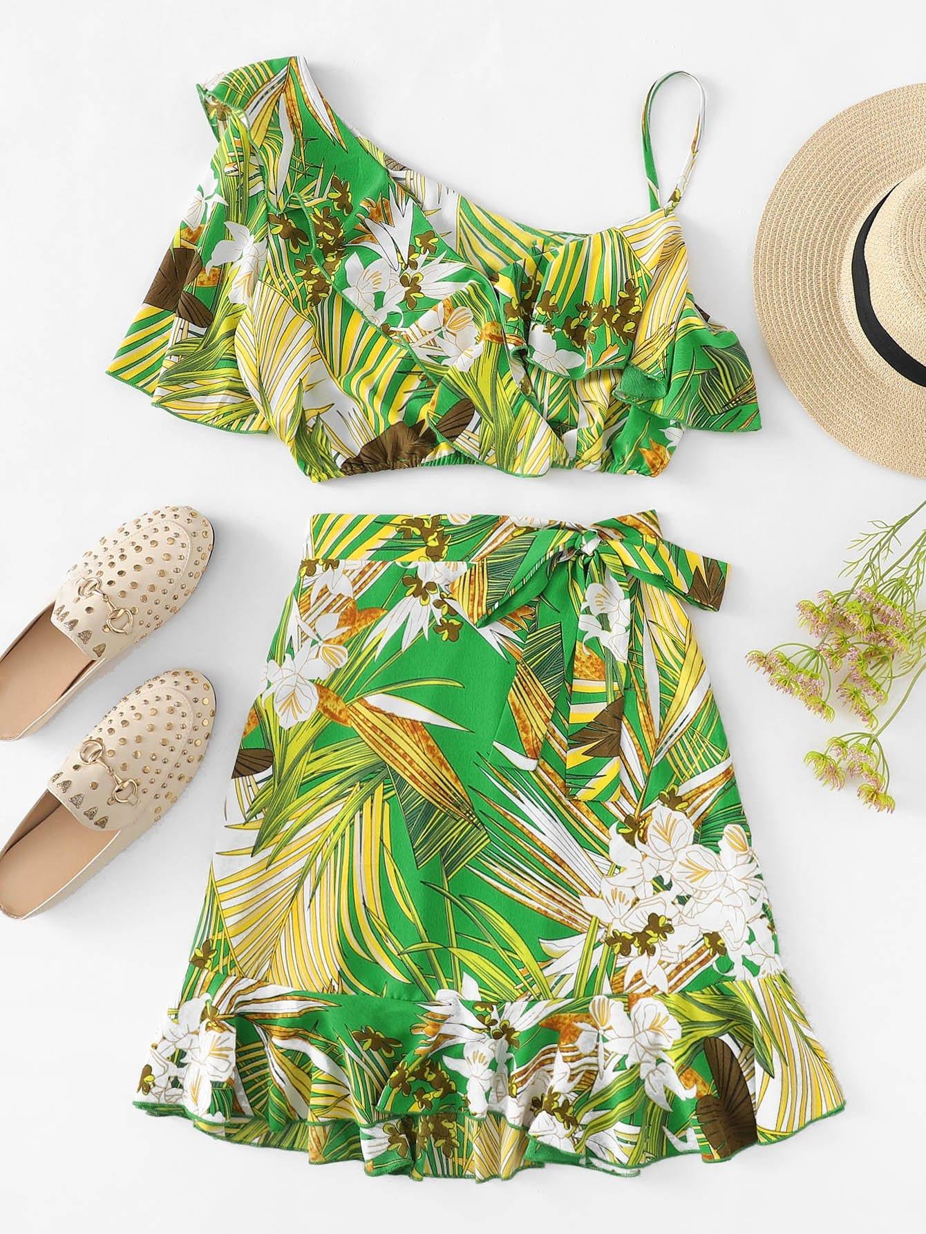 Купить Блузка с розеткой и с рисунками тропическими листьев и с асимметричными рукавами и юбка, null, SheIn