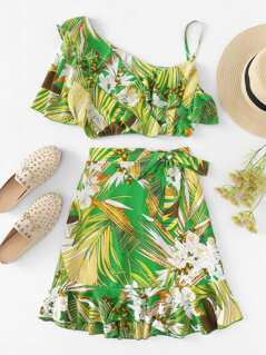 Asymmetrical Sleeve Tropical Print Ruffle Top & Skirt Set