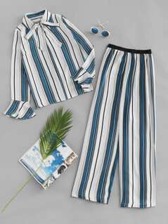Vertical Striped Tied Neck Top & Pants Set
