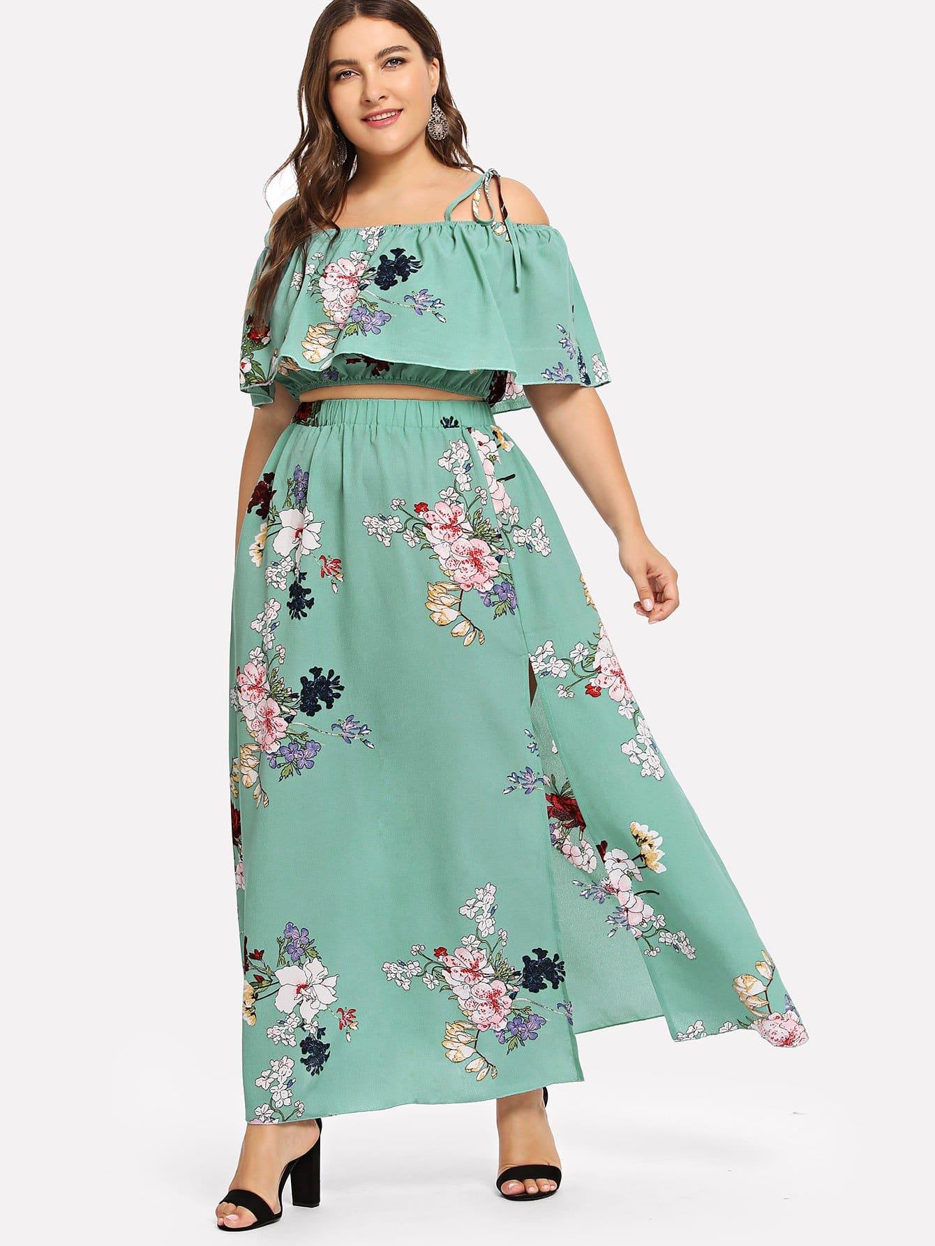 Купить Большая ситцевая блузка с накрахмаленным воротником и брюки, Franziska, SheIn