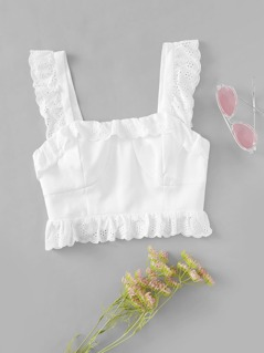 Embroidered Eyelet Ruffle Top
