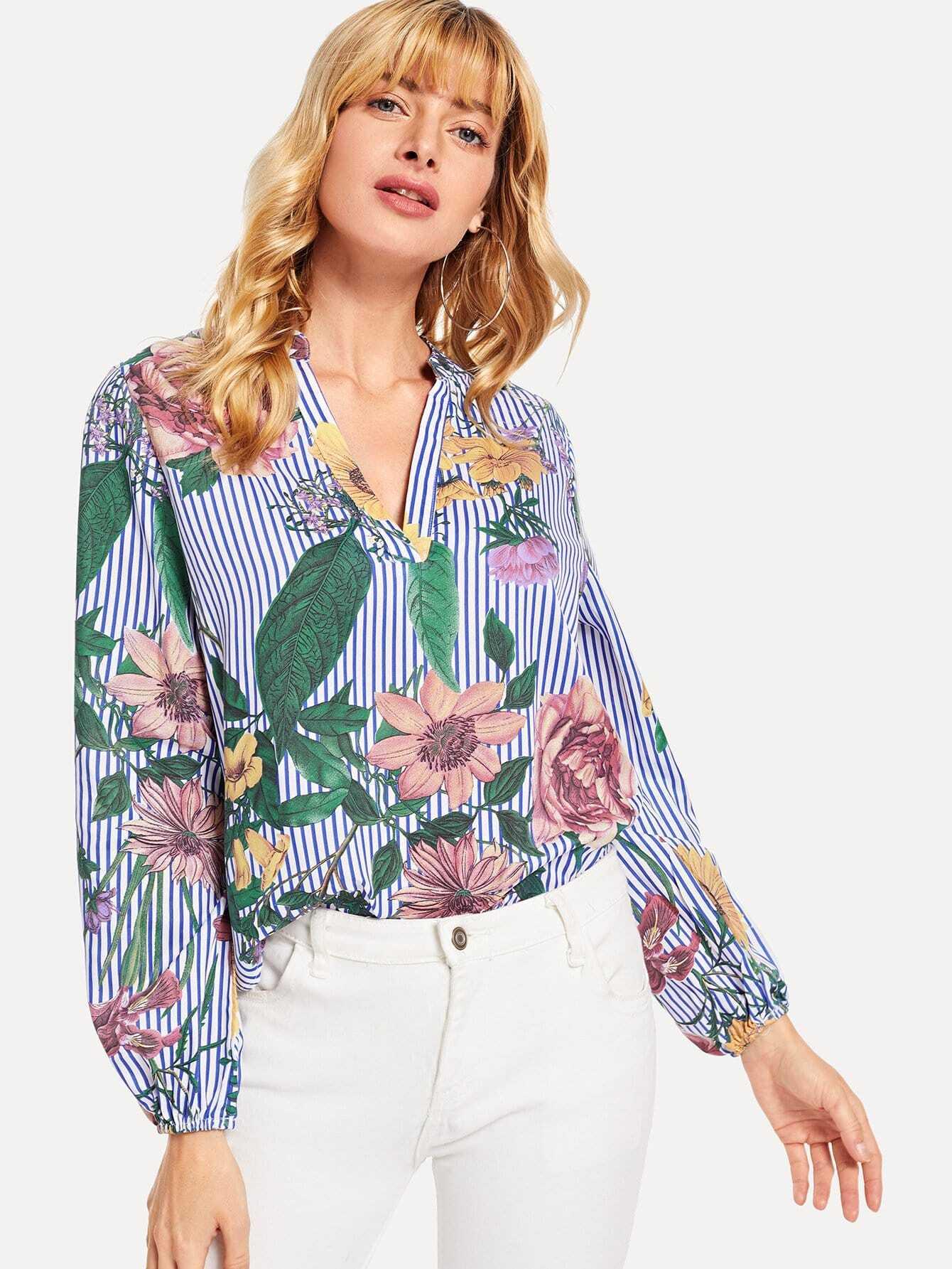 V-Cut Floral Print Striped Top, Masha, SheIn  - купить со скидкой