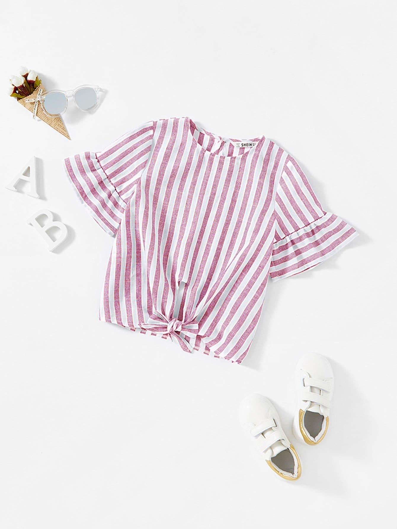 Купить Полосатая блузка и с замочной скважиной сзади одежды и рукава с розеткой и подол с банта для девочки, null, SheIn