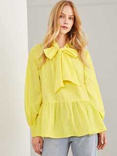 Tie Neck Ruffle Hem Solid Top