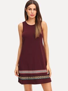 Embroidery Tape Swing Tank Dress