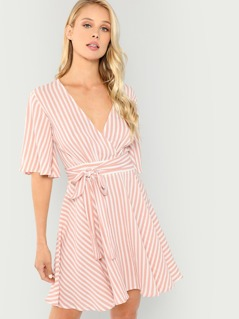 Waist Belted Flutter Sleeve Striped Dress