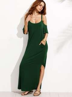 Pocket Open Shoulder Split Full Length Dress