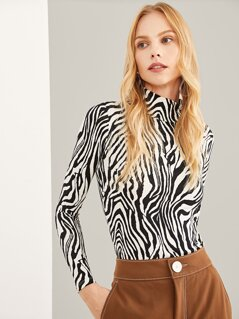 High Neck Zebra Print Tee