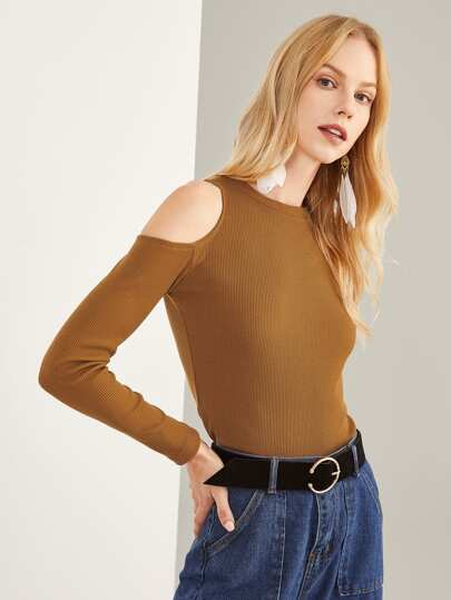 One Shoulder Ribbed Knit Tee