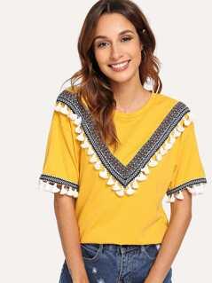 Embroidered Tape & Tassel Embellished T-shirt