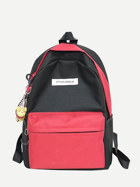 Color Block Zipper Backpack