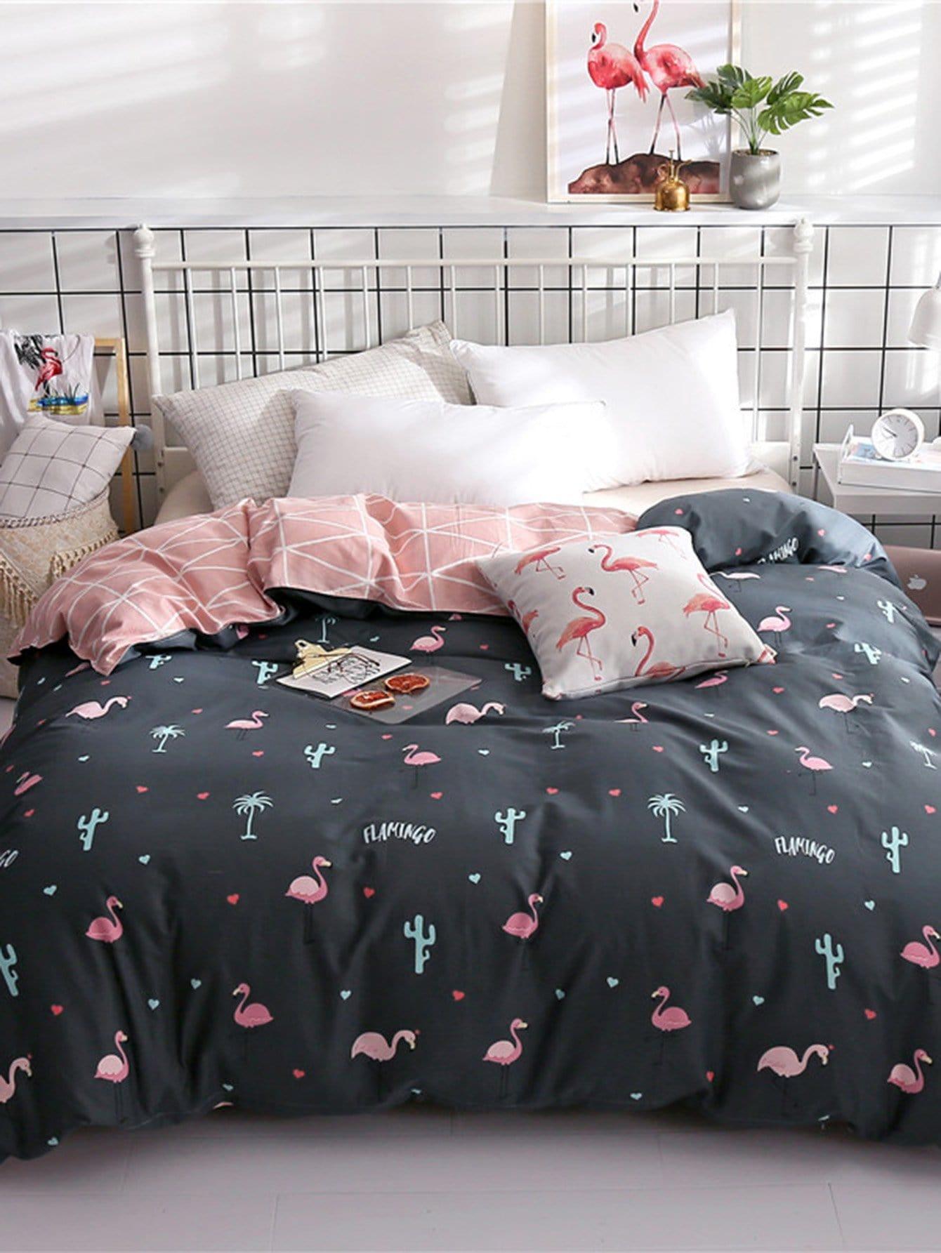 Купить Бархатное постельное бельё с рисунками фламинго и геометрических фигур 1 шт, null, SheIn