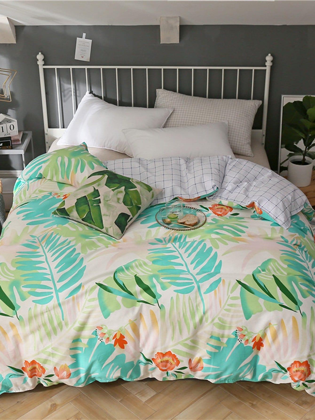 Купить Ситцевое бархатное постельное бельё с рисунками листьев 1 шт, null, SheIn