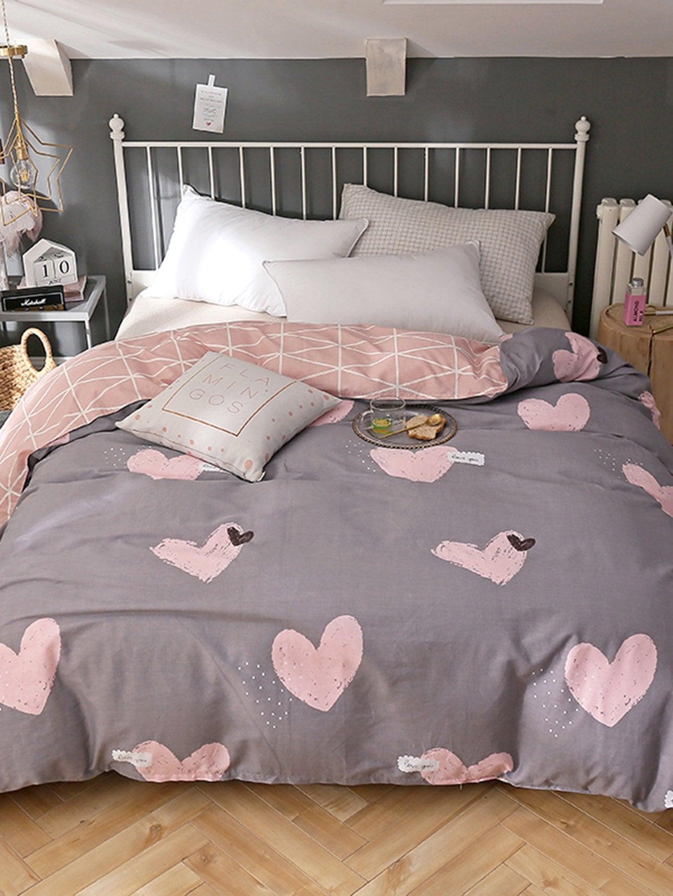 Купить Бархатное постельное бельё с рисунками сердцей, null, SheIn