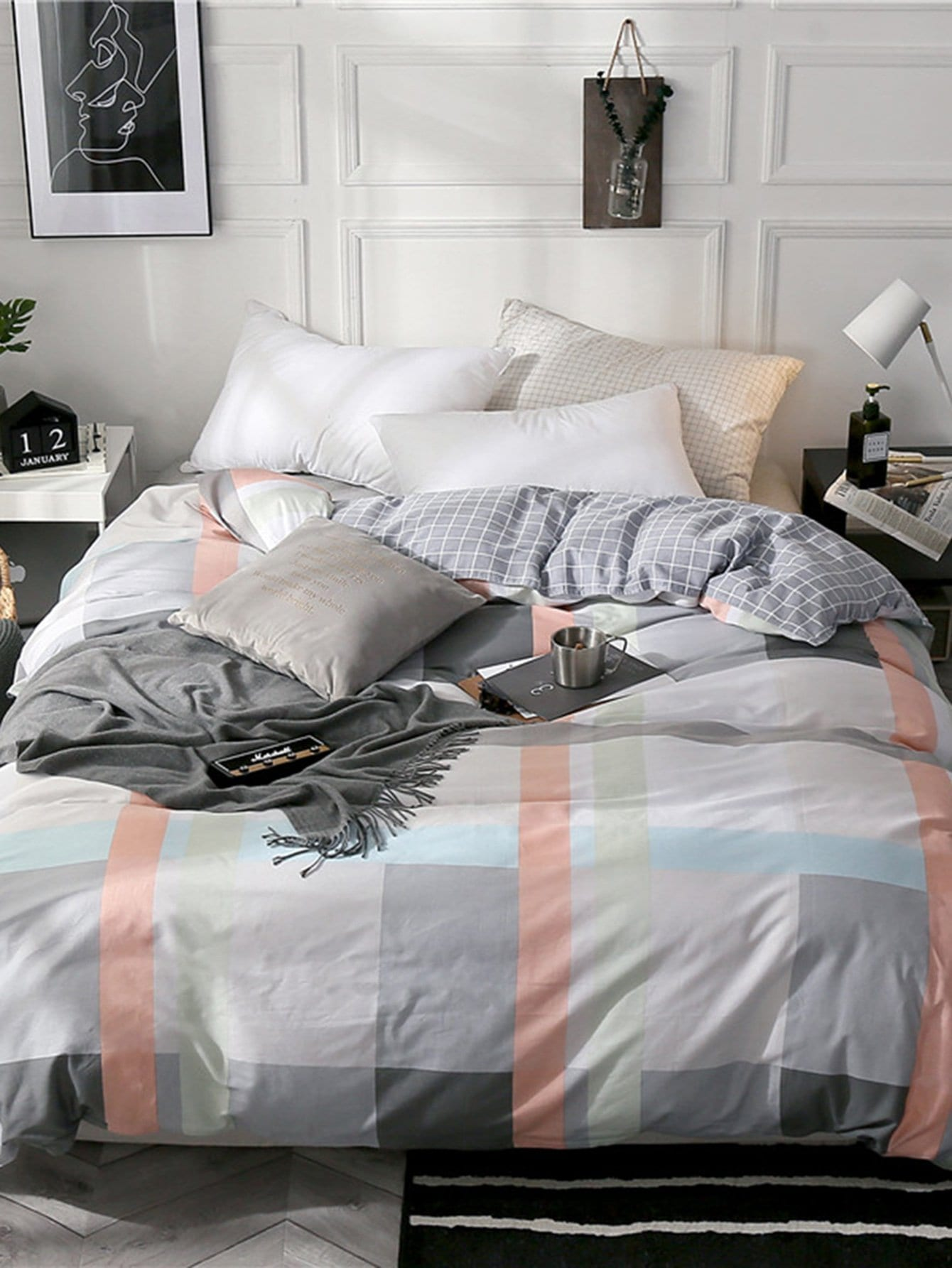 Contrast Striped & Plaid Print Duvet Cover 1 PC